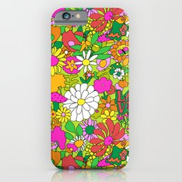 60's Groovy Garden in Lime Green iPhone Case