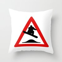 snowboard Throw Pillows featuring Snowboard road sign by Komrod