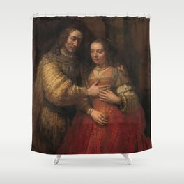 """Isaak and Rebekka, known as """"The Jewish Bride"""" - Rembrandt van Rijn (1665 - 1669) Shower Curtain"""