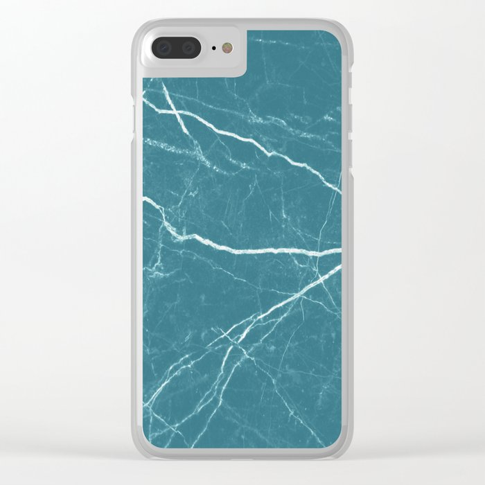 Blue marble abstract texture pattern Clear iPhone Case