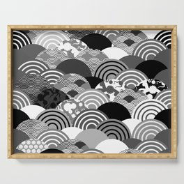Nature background with japanese sakura flower, Cherry, wave circle Black gray white colors Serving Tray