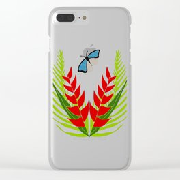 Blue wing Butterfly Clear iPhone Case