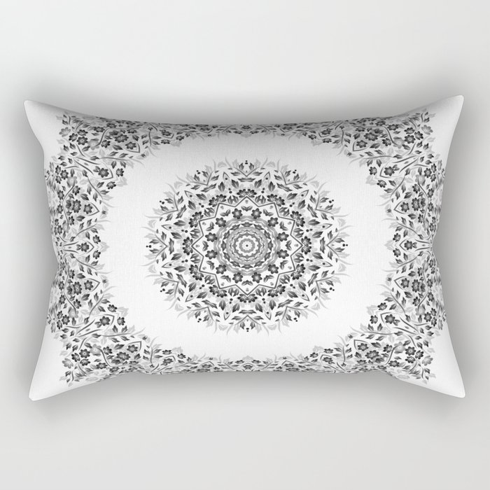 Black And White Floral Mandala Rectangular Pillow
