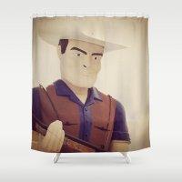 cowboy Shower Curtains featuring Cowboy by Natasha N. Walker