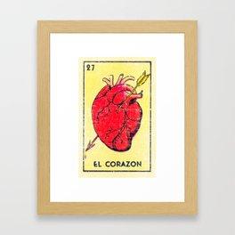 El Corazon Mexican Loteria Bingo Card Framed Art Print