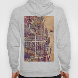 Chicago City Street Map Hoody