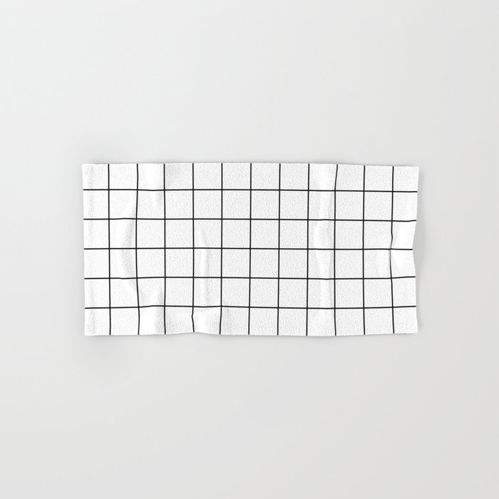 Grid Simple Line White Minimalist Hand & Bath Towel