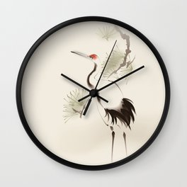 Oriental Red-Crowned Crane 002 Wall Clock