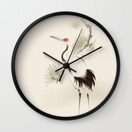 Oriental Red-Crowned Crane 002 Wall Clock