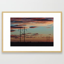 Sunset Powerlines Framed Art Print