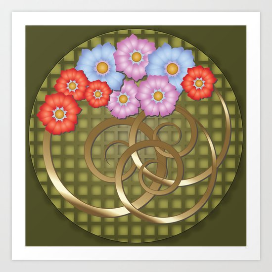 Flowers In The Round Art Print