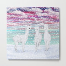 alpacas in the snow Metal Print