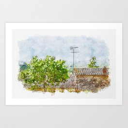 Aquarelle sketch art. Shot of typical Tuscany buildings and landscape Art Print