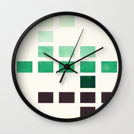 Colorful Teal Turquoise Deep Green Mid Century Modern Minimalist Square Geometric Pattern Wall Clock