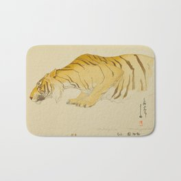 Sketch of Tiger Zoological Garden Vintage Beautiful Japanese Woodblock Print Hiroshi Yoshida Bath Mat