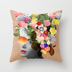Lady Floral Throw Pillow