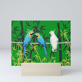 Kakadu - Macaw Bamboo Rope Jungle green Mini Art Print