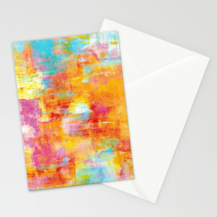 OFF THE GRID Colorful Pastel Neon Abstract Watercolor Acrylic Textural Art Painting Nature Rainbow  Stationery Cards