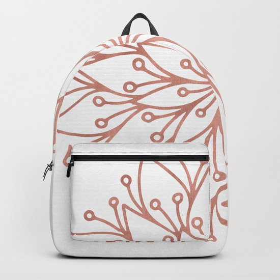 Mandala Blooming Rose Gold on White Backpack