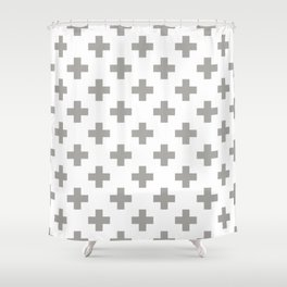 Grey Plus Sign Pattern Shower Curtain