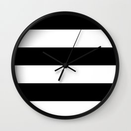 Even Horizontal Stripes, Black and White, XL Wall Clock