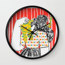 GIRL WITH A CAT Wall Clock