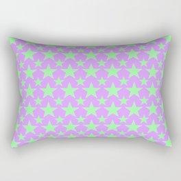 Green Star Pattern on Purple Rectangular Pillow