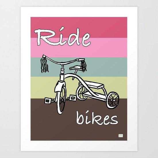 Ride Bikes on Striped Conch Background Art Print