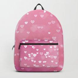Pretty Pink Bokeh Love Hearts Backpack