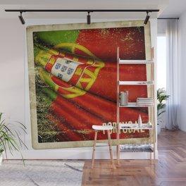 Portugal grunge sticker flag Wall Mural