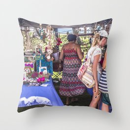 Shopping At The Markets Throw Pillow