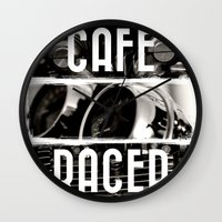 cafe racer Wall Clocks featuring Cafe Racer by Rainer Steinke