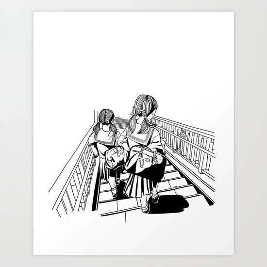 Japanese School Girls  Art Print