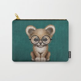 Cute Baby Lion Cub Wearing Glasses on Blue Carry-All Pouch