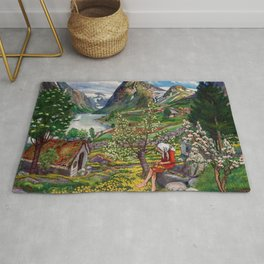 Alpine Lake Landscape, 'Girl, Springtime & Marigolds' by Nikolai Astrup Rug