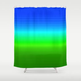 Blue Sky Green Grass Deconstructed (blue to green ombre gradient) Shower Curtain
