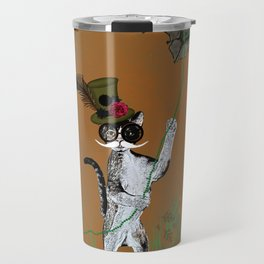 Cat Walking His Bat Travel Mug