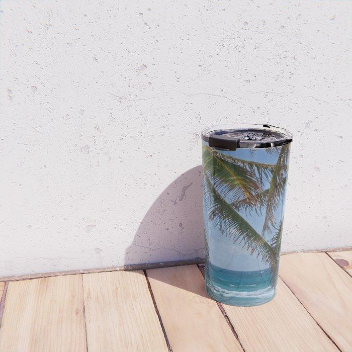 Serene Caribean Beach Scene Travel Mug