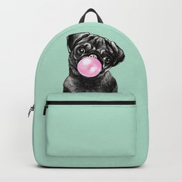 Bubble Gum Black Pug in Green Backpack