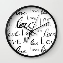 Painted Love on White Wall Clock