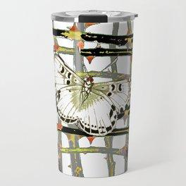 #2 PURPLE-WHITE MOTHS  ON BLACKTHORN LATTICE BRANCHES ART Travel Mug