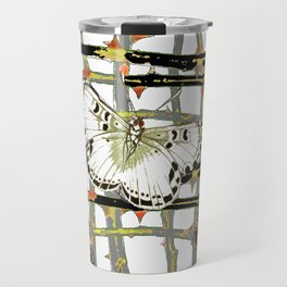 #2 PURPLE-WHITE MOTHS  ON BLACKTHORN LATTICE BRANCHES ART Travel Mug