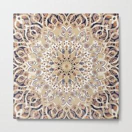 Ethnic Mandala Flower Boho Wall Art Metal Print