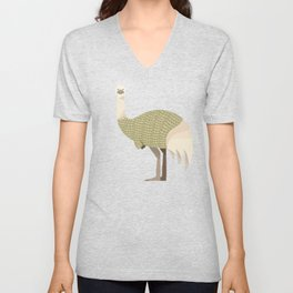 Whimsical Emu Unisex V-Neck