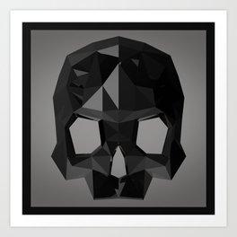 Black skull low poly Art Print