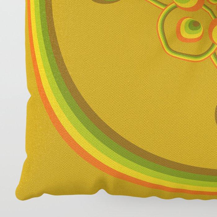 70s Circle Designs - Orange, Brown, Green Floor Pillow