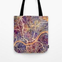 Cincinnati Ohio City Map Tote Bag