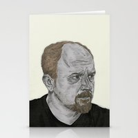 louis ck Stationery Cards featuring Louis CK by Andy Christofi