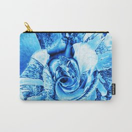 Blue and Turquoise Ice Rose Carry-All Pouch