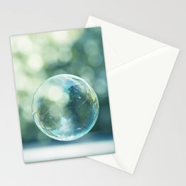 Bubble Photography, Bathroom Blue Green Art, Soap Bubbles Laundry Room Print, Bath Nursery Photo Stationery Cards